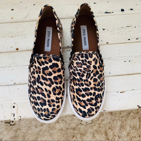 27be685a050 NWOT Steve Madden Leopard Symba Slip On Sneaker